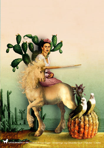 """Plakater, citater og kort. Fotocollage, Frida Kahlo: """"There have been two great accidents in my life. One was the trolley, and the other was Diego. Diego was by far the worst."""""""