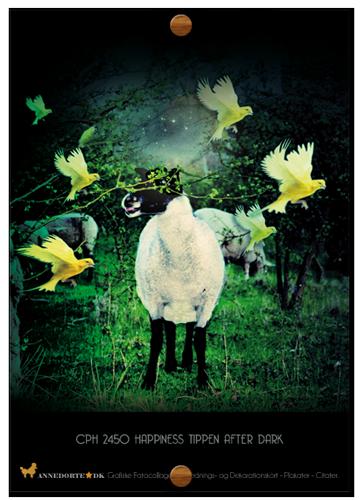 Kort og plakater. Fotocollage af fårerne på Sydhavnstippen.