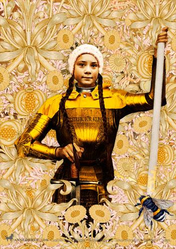 Kort og plakater. Fotocollage: Greta Thunberg. Skolestrejke for klimaet