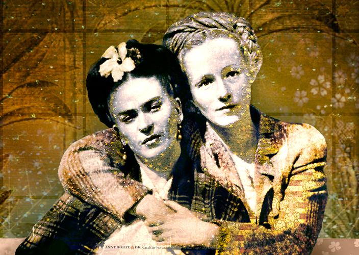Kort og plakater, citater. Fotocollage af Frida Kahlo og Emmy Lao Packard