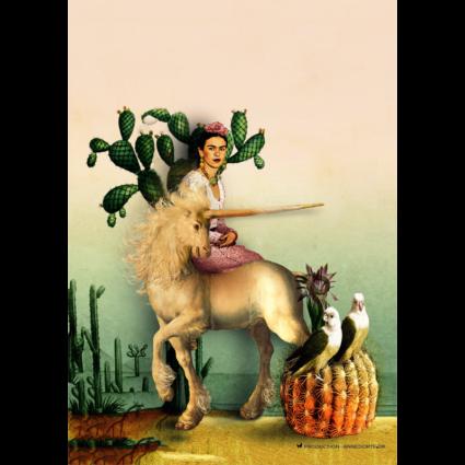 Plakat & Anledningskort Frida Kahlo & Enhjørning