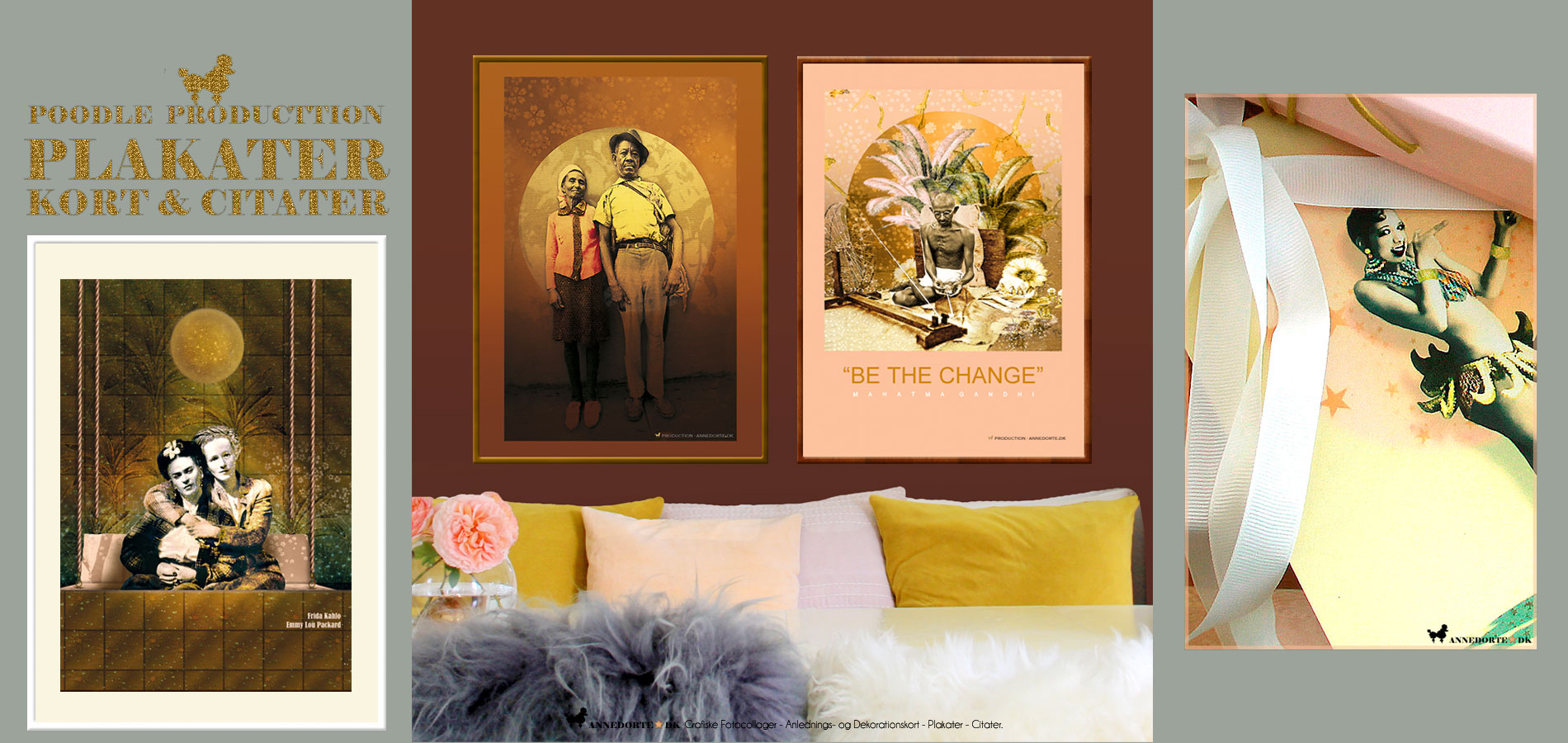 """Plakat Mahatma Gandhi """"Be the change you wish to see in the world"""" Frida Kahlo &Emmy Lou Packard & Josephine Baker"""