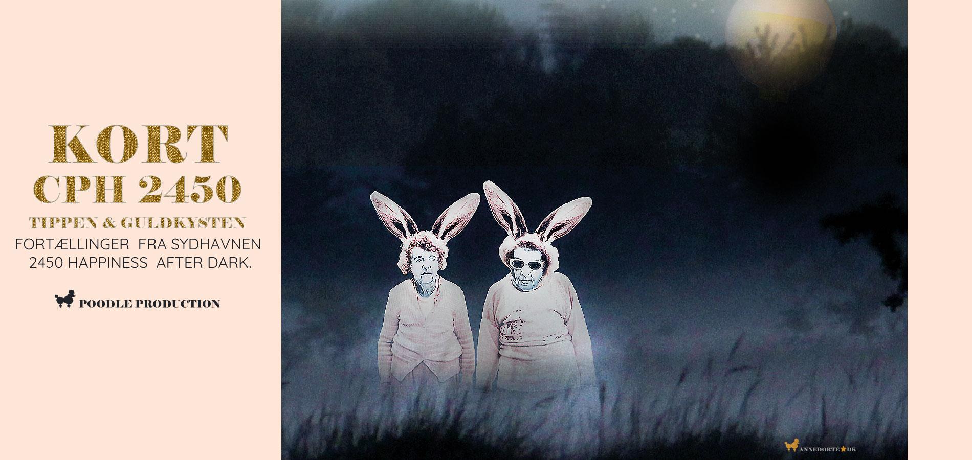 Plakat & Anledningskort fra Sydhavnen 2450 København. De Lyserøde Kaniner